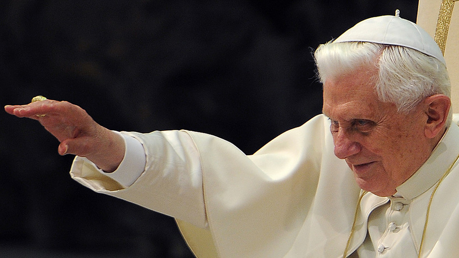 Pope Benedict XVI waves during his weekly general audience Wednesday at the Vatican.