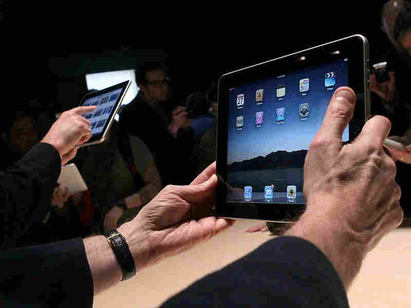 Hands on the new Apple iPad tablet computer.