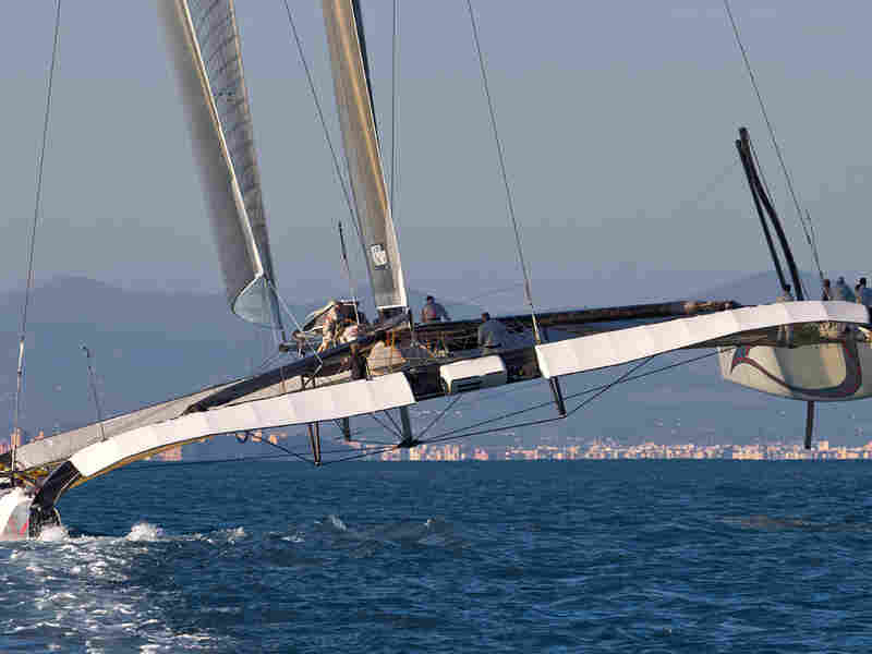 The Alinghi 5 sailing off Valencia, Spain