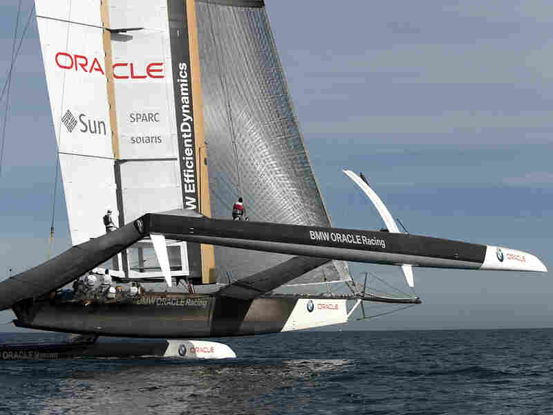 The BMW Oracle yacht under sail.