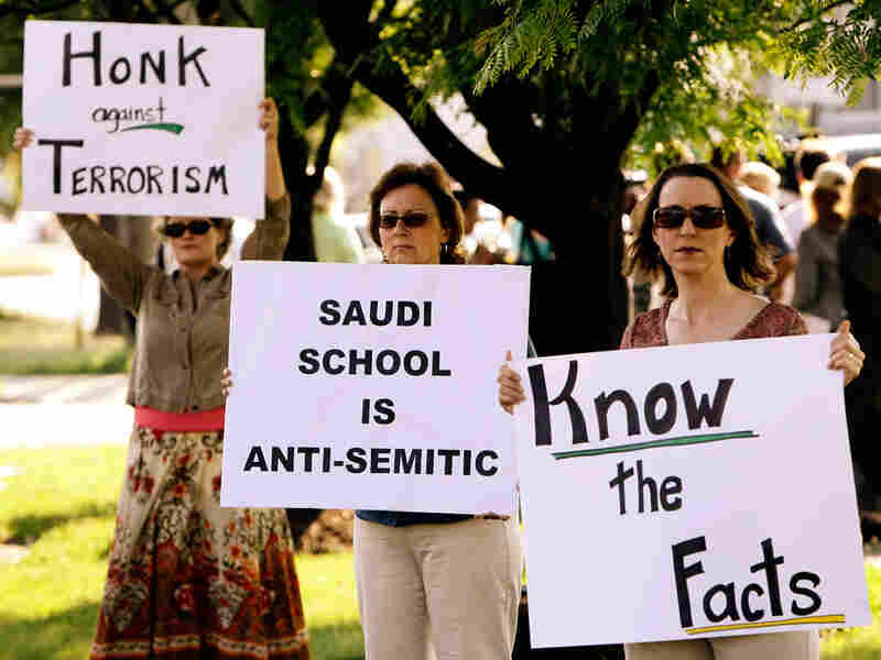Protesters outside the Islamic Saudi Academy campus in Alexandria, Va., in 2008