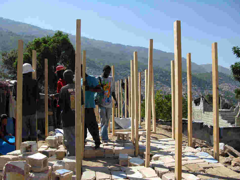 Latrines and showers being built near a survivors' camp just outside of Port-au-Prince.