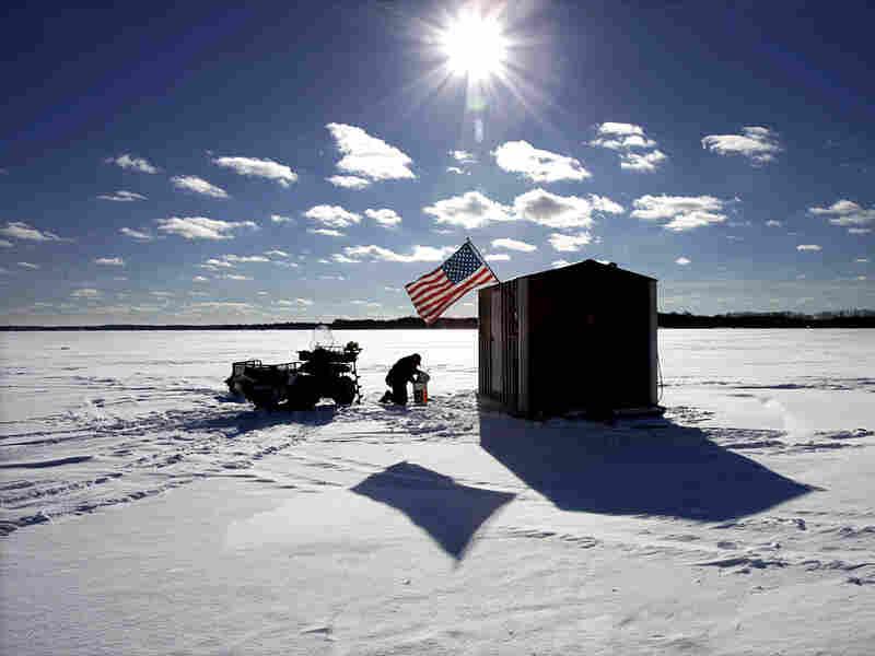 Jeff Schraml and his ice shanty