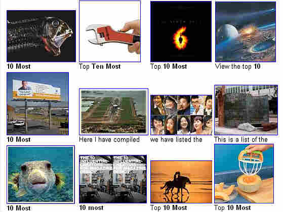 Images promoting popular lists on the Web.