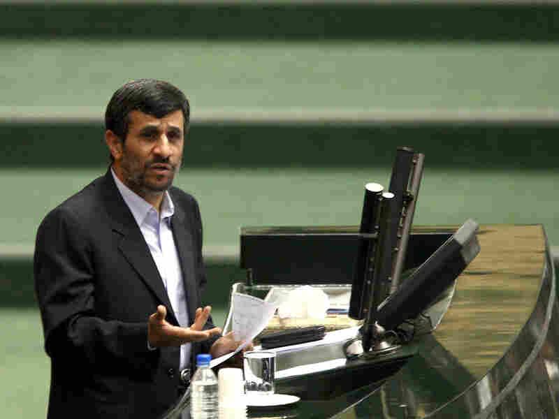 Iranian President Mahmoud Ahmadinejad addresses a parliamentary session in Tehran on Jan. 24