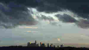 Fast moving clouds approach downtown Los Angeles.