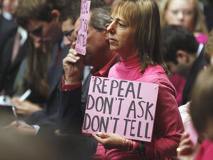 "CodePink demonstrates before a Senate Armed Services Committee hearing on ""don't ask, don't tell."""