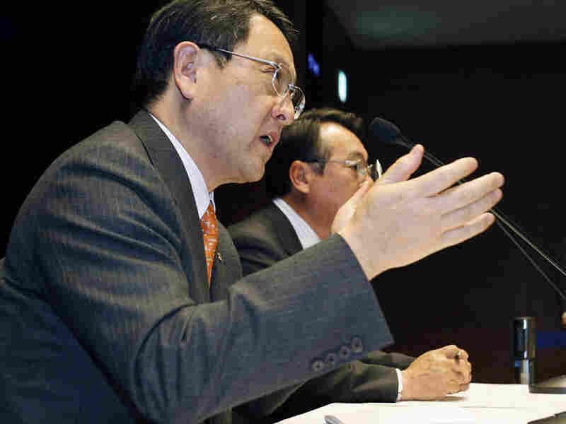 Toyota President Akio Toyoda, left,