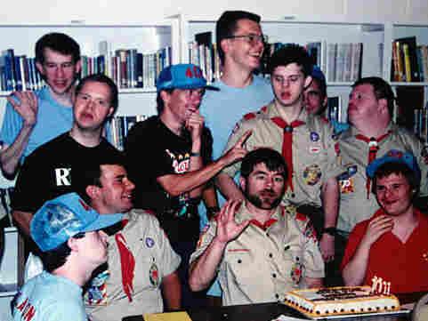 Derek Connell with members of Troop 409.