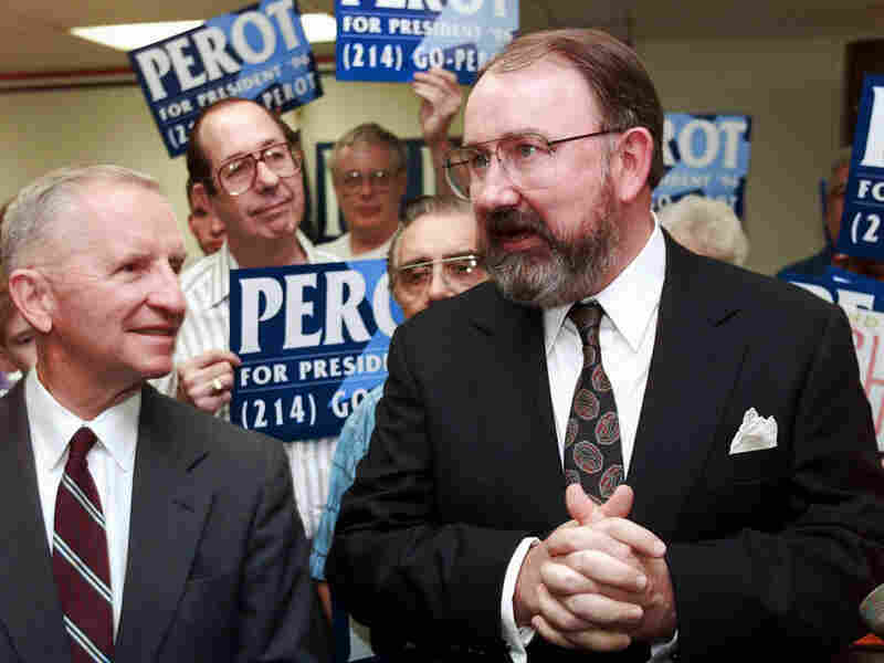 Ross Perot, left, with Reform Party running mate Pat Choate