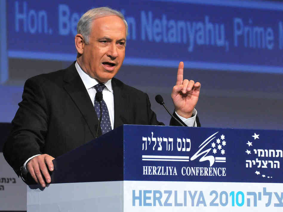 Israeli Prime Minister Benjamin Netanyahu speaks during the Herzliya Conference.