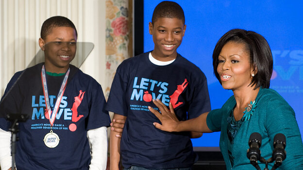 First Lady Michelle Obama speaks about her initiative 'Let's Move,' a campaign to help combat childh
