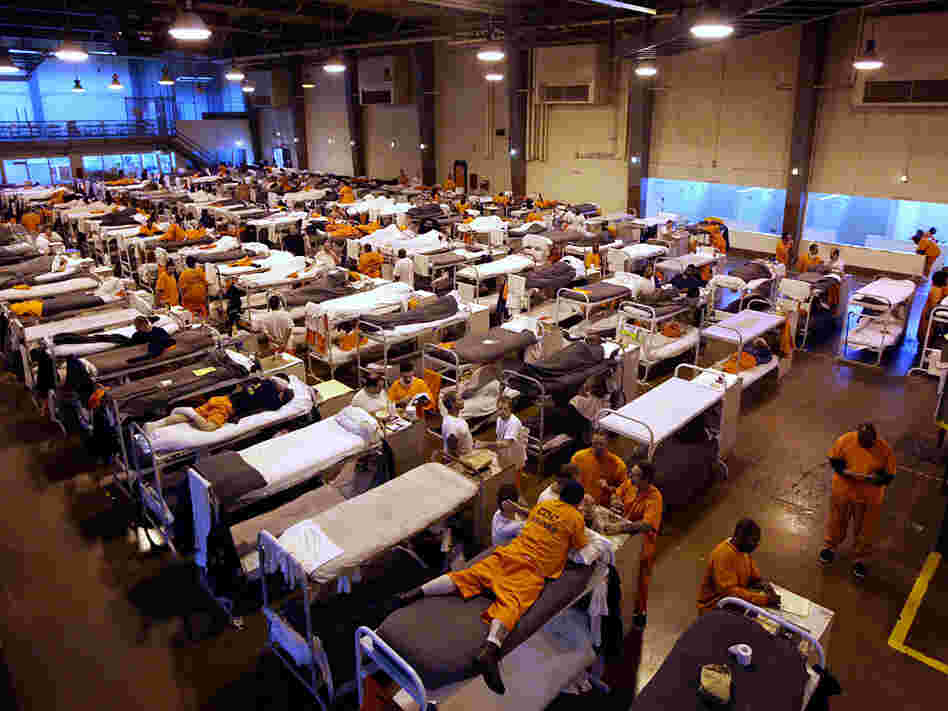 The gymnasium at San Quentin, seen in a 2009 file photo, serves as housing for hundreds of inmates.