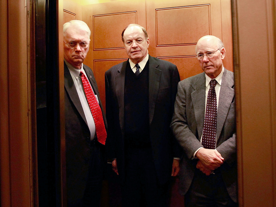 Sens. Jim Bunning (R-KY), Richard Shelby (R-AL), and Pat Roberts (R-KS) get into an elevator after a Senate vote Dec. 21.