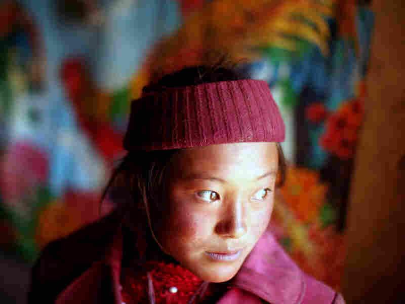 Tibetan girl who lives along the route to the Mekong's source high on the Tibetan plateau.