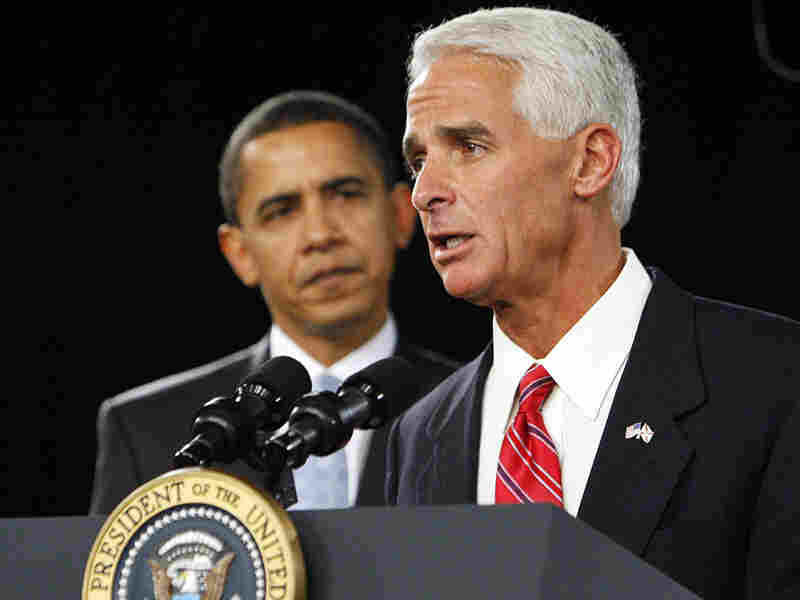 President Obama and Florida Gov. Charlie Crist.