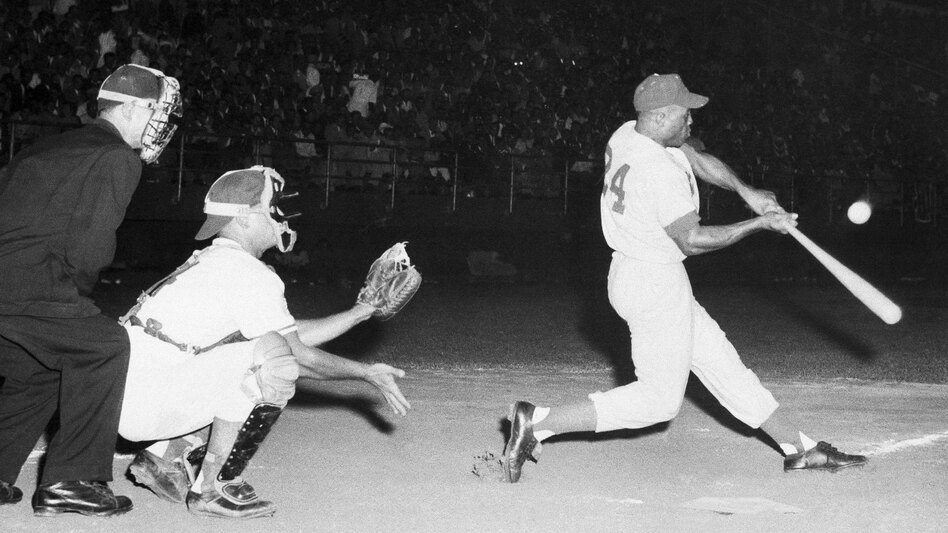 Willie Mays grounds out in February 1955.