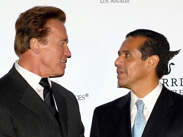California Gov. Arnold Schwarzenegger (left) and Los Angeles Mayor Antonio Villaraigosa are both dealing with layoffs and spending cutbacks during California's difficult economic times.