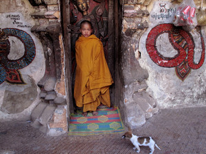 Novice Buddhist monk in Myanmar's eastern Shan state