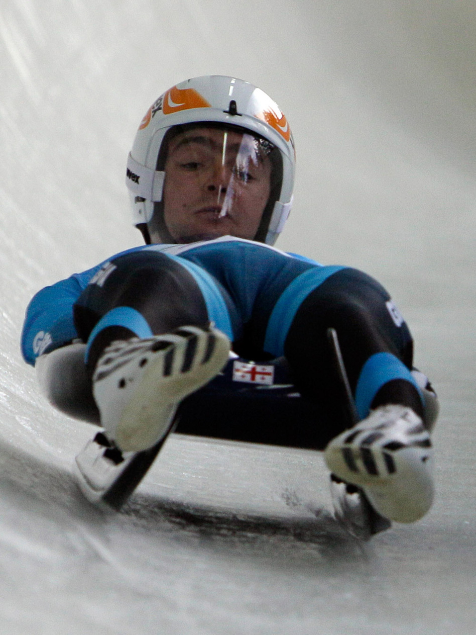 Nodar Kumaritashvili of the Democratic Republic of Georgia is seen just before crashing during a training run Friday for the men's singles luge at the Vancouver 2010 Olympics in Whistler, British Columbia.