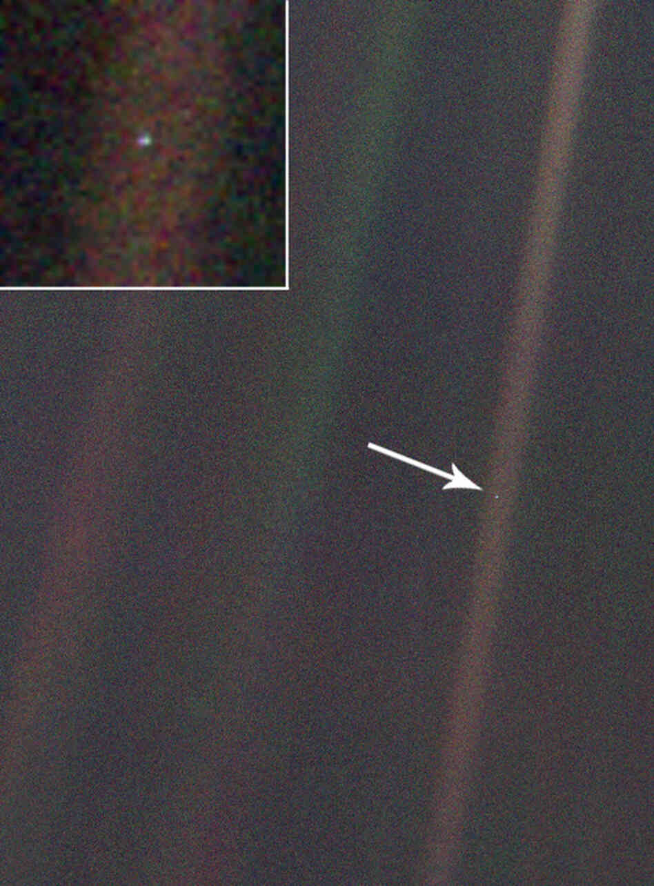 "Taken in 1990 by NASA's Voyager 1 spacecraft, the ""Pale Blue Dot"" photo of Earth."
