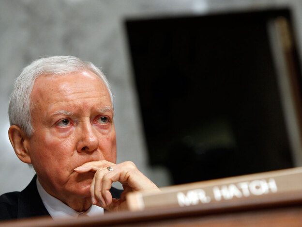 "Orrin Hatch of Utah is one of four Republican lawmakers still in the Senate who supported a 1993 GOP bill requiring an ""individual mandate."" (Getty Images)"