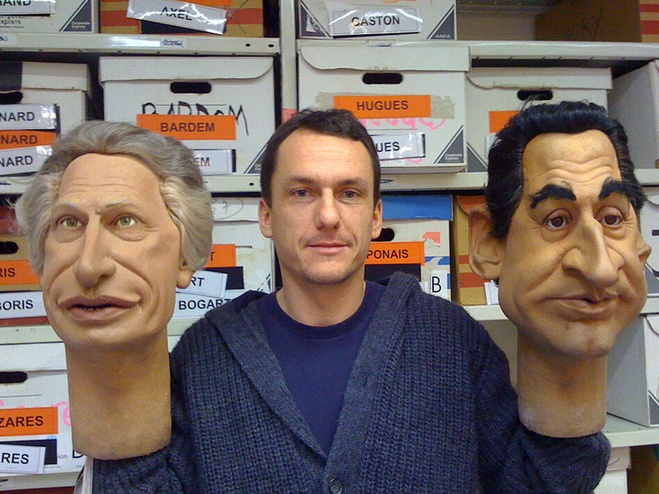 "Julien Herve, a writer for ""Les Guignols de l'Info,"" a satirical puppet show, holds the Villepin and Sarkozy puppets. He says the rivalry between the two has electrified the political scene."
