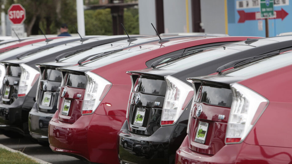 2010 Prius models for sale at a Toyota dealership in Daly City, Calif., in early February