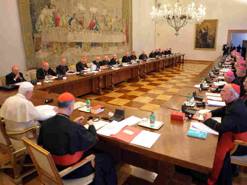 Pope Benedict XVI meets with Irish Bishops at the Vatican Monday Feb. 15.