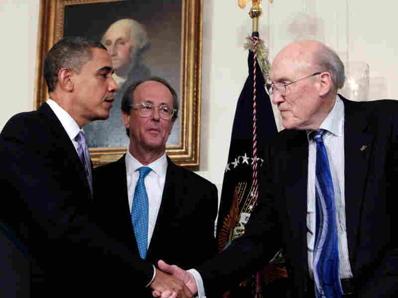 President Obama greets  former Sen. Alan Simpson (R-WY) (right) and Erskine Bowles.