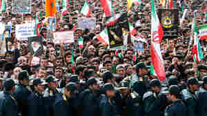 Demonstrators at a rally in Iran