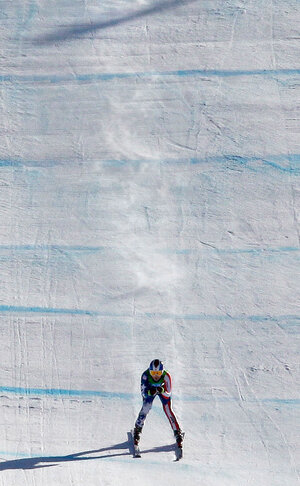 Lindsey Vonn speeds to the finish in Wednesday's downhill.