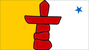 The flag of the nation of Nunavut features a traditional inukshuk, says expert Peter Irniq.