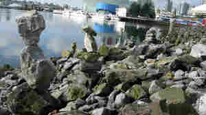 Stacks of rocks built by passers-by near the Olympic Village in Vancouver.