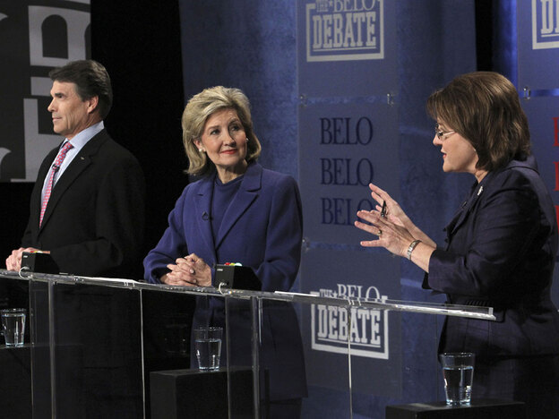Texas GOP gubernatorial candidates (from left) Gov. Rick Perry, Sen. Kay Bailey Hutchison and Debra Medina debate in Dallas.