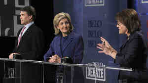 Texas GOP gubernatorial candidates Gov. Rick Perry, Sen. Kay Bailey Hutchison and Debra Medina.