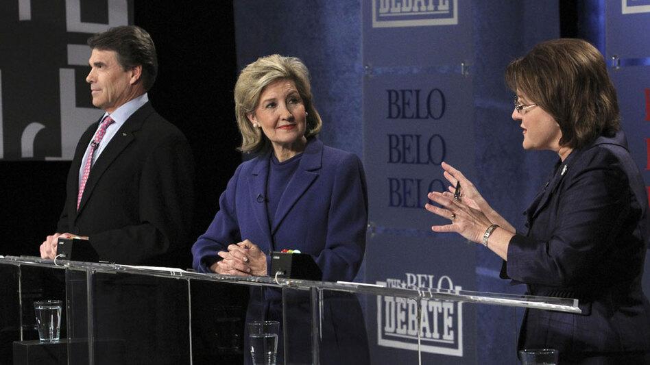Texas GOP gubernatorial candidates (from left) Gov. Rick Perry, Sen. Kay Bailey Hutchison and Debra Medina debate in Dallas.