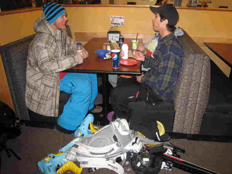 Westminster students Greg Peterson (left) and Nick Consiglio grab a bite in the cafeteria.