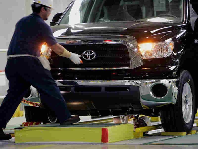 A Toyota Tundra undergoes inspection at a Texas plant.