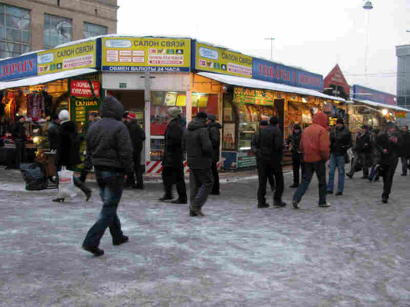 At Leningradsky train station, the paths around the terminal are lined with seedy stores and kiosks.