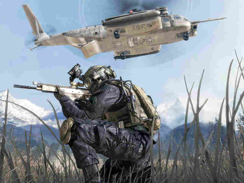 A scene from a video game rated mature.