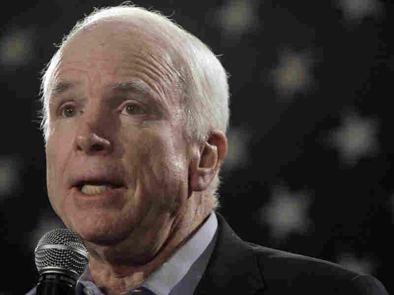 Sen. John McCain (R-AZ) addresses a crowd of mainly veterans on Feb. 18.