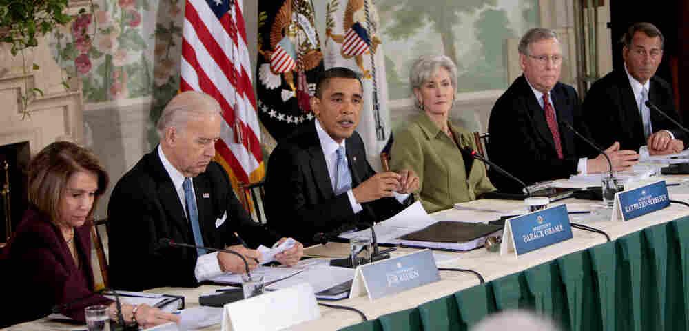 President Obama with Nancy Pelosi, Joe Biden, Mitch McConnell, John Boehner
