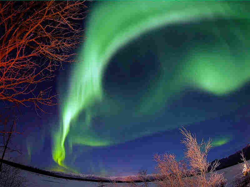 The northern lights dance over the Knik River near Palmer, Alaska.