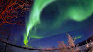 The northern lights dance over the Knik River near Palmer, Alaska.