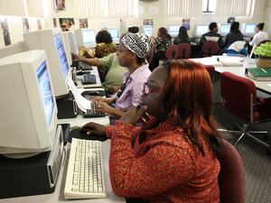 Job seekers surf the Web at a Los Angeles computer lab.
