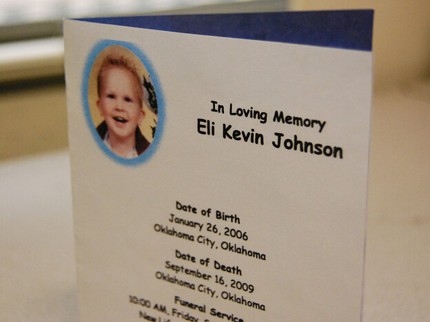 Eli Johnson's great-grandmother saved his funeral card. Three-year-old Eli was beaten to death in 2009.