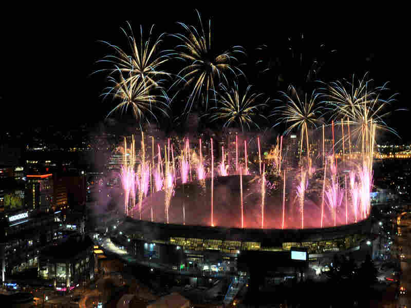 Fireworks explode over BC Place for the closing ceremony of the Vancouver games.