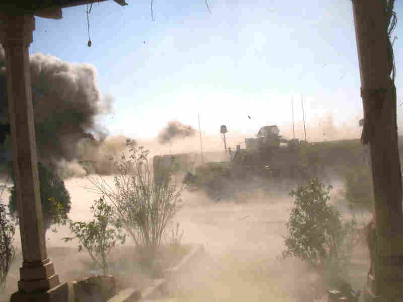 The explosion after a team detonates 400 pounds of IEDs
