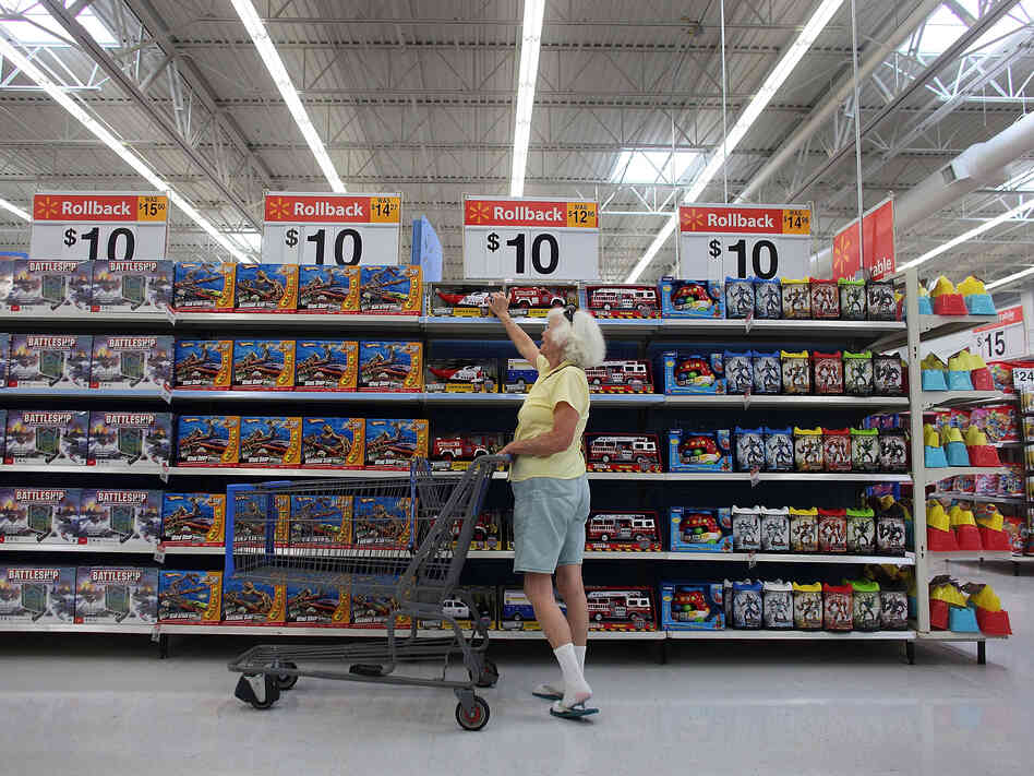 A woman shops in Wal-Mart